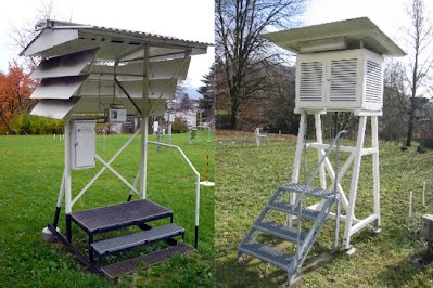 Parallel measurement in Basel, Switzerland. A Wild screen (left) and a Stevenson screen (right).